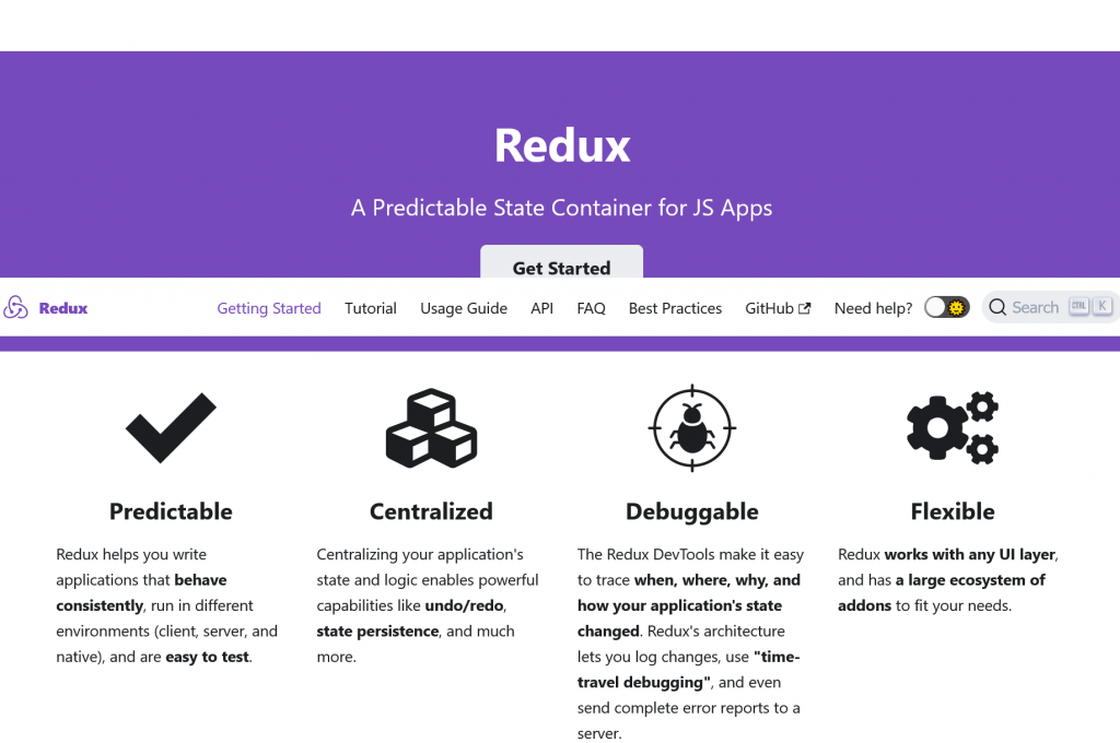 Redux - A predictable state container for JavaScript apps Redux